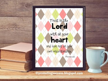 Proverbs 3:5 Inspirational Bible Verse Quote Motivational Christian Poster