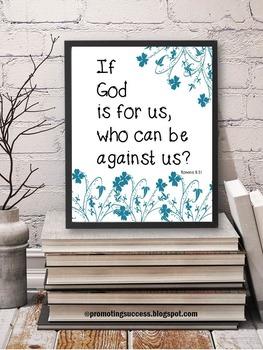 Bible Verse Inspirational Quote Poster Romans 8:31 Christian Classroom Decor