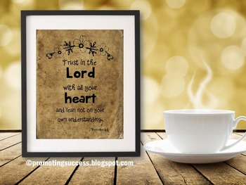 Proverbs 3:5 Bible Verse Poster, Christian Classroom Decor, Inspirational Quote