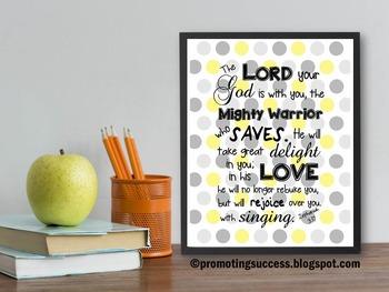 Zephaniah 3:17 Bible Verse Poster, Yellow and Gray Christian Classroom Decor