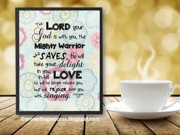 Inspirational Bible Verse Quote Poster Zephaniah 3 Religio