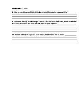 Religion - Elijah Assessment (Quiz)