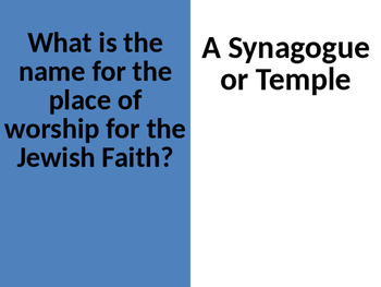 Religion Flash Cards - Judaism, Christianity and Islam-editable version included