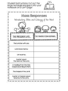 Religion Interactive Notebook The Parts Of The Mass By
