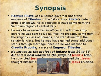 Religion - The Easter Story – The Men Who Tried Jesus -  Pontius Pilate