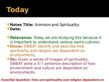Religion Unit: Spirituality and the Environment