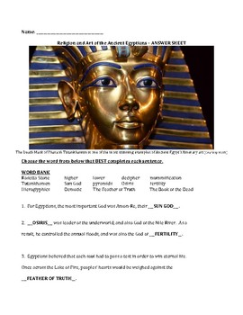 Religion and Art of the Ancient Egyptians - Fill in the Blanks