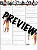 Religion in Ancient Egypt Worksheet