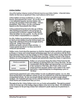 Religion in the Colonies: Cotton Mather, Jonathan Edwards, Salem Witch Trials