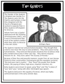 Religion in the Colonies: Pilgrims, Puritans, Quakers