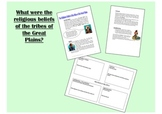 Religion of Native American Plains Tribes History worksheet and activities