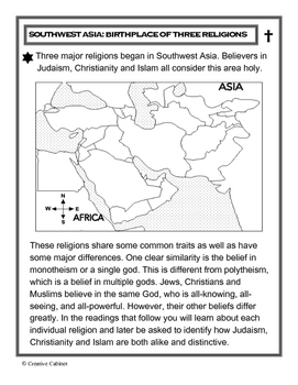 Religions of Southwest Asia - Birthplace of Three Religions (compare/contrast)