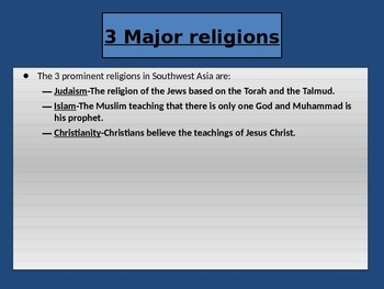 Religions of the Middle East PPT and Cloze Notes with Answer Key!