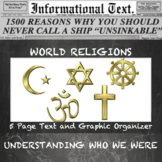 Basic beliefs of the five Religions of the World--Informational Text