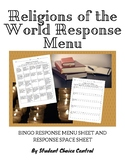 Religions of the World Response Menu