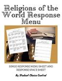 Religions of the World Response Menu