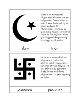 Religions of the World - Three/Four Part Cards (NORWEGIAN)