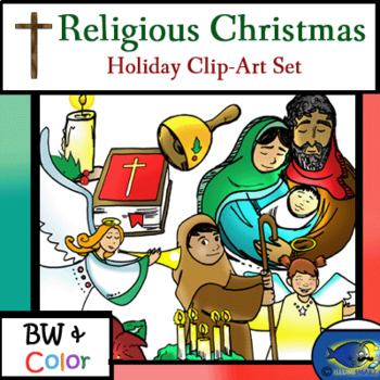 Religious Christian Christmas Clip-Art-25 Pieces (BW and Color!)