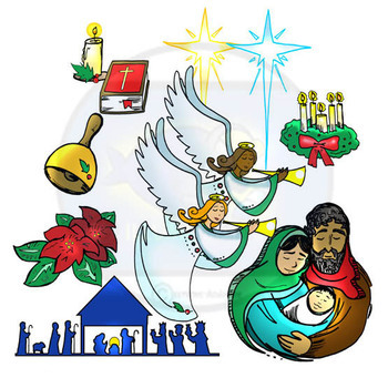 Christmas Clip Art Religious.Religious Christian Christmas Clip Art 25 Pieces Bw And Color