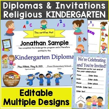 Religious, Christian Kindergarten Diplomas, Graduation Invitations Editable