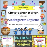 Religious, Christian Kindergarten Diplomas, Graduation Invitations Editable