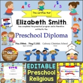 Religious, Christian Preschool Diplomas, Graduation Invitations Editable