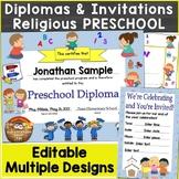 Preschool Religious Diplomas, Graduation Invitations Editable, Christian Theme