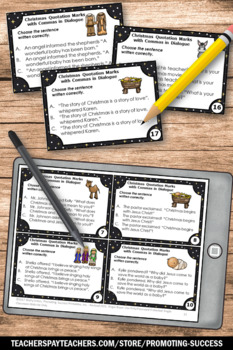 Religious Christmas Activities Quotation Marks and Commas in Dialogue Task Cards