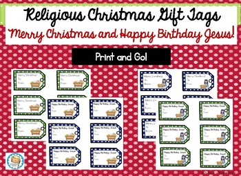 Merry Christmas Gift Tags.Religious Christmas Gift Tags With Happy Birthday Jesus And Merry Christmas