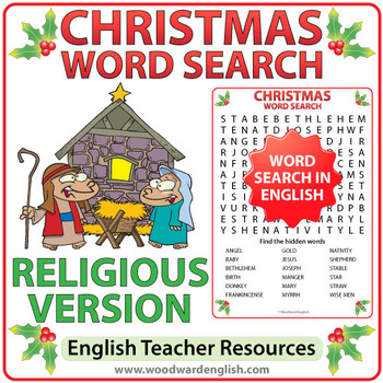 Religious Christmas Word Search in English