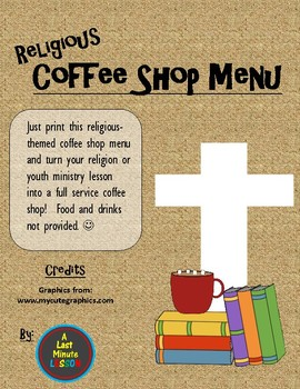 Religious Coffee Shop Menu