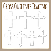 Religious Cross Tracing Shapes for Fine Motor Control or Cutting Clip Art