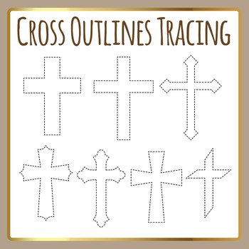 Religious Cross Tracing Shapes for Fine Motor Control or C