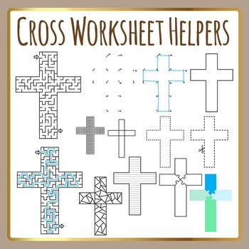 Religious Cross Worksheet Helpers Christian Clip Art for Commercial Use