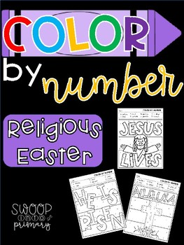Religious Easter Color By Number Sheets