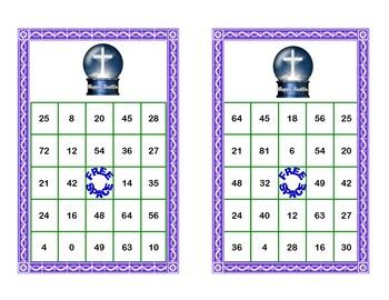 Religious Easter Theme Bingo Game Multiplication Tables 0-10