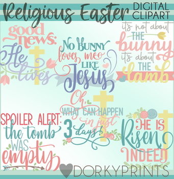 Religious Easter Title Words Clipart