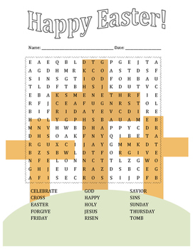Easter Word Search Religious