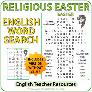 Religious Easter Word Search in English
