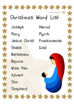 Religious Education Christmas Vocabulary Puzzles