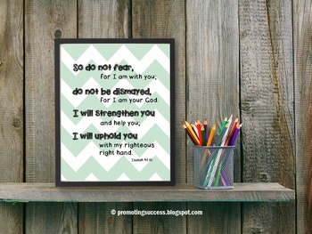 Bible Verse Poster, Inspirational Quote Isaiah 41:10 Christian Classroom Decor