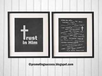 Emergency Bible Numbers Christian Classroom Scripture Posters