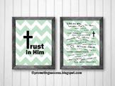 Mint Green Chevron Emergency Bible Verses Poster Set, Religious Education