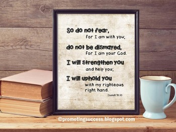 Do Not Fear Inspirational Christian Bible Verse Quote Poster by Isaiah 41:10
