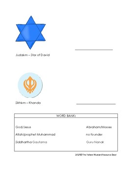 Religious Expression (symbol) match to Religious Founder