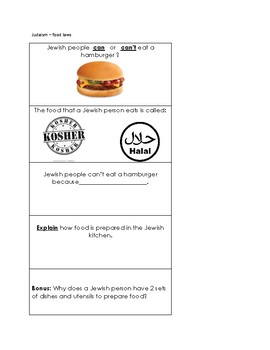 Religious Food Laws and Practices- jeopardy cards (Judaism and Islam only)