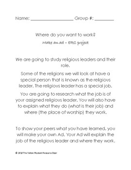 Religious Leader role and work place -job advertisement project