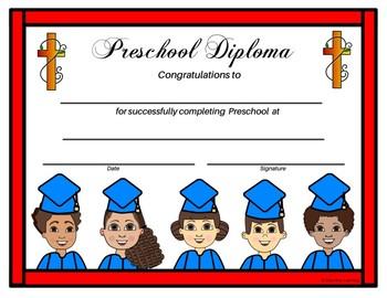 Religious Preschool Diploma - Graduating Kids Theme - Editable