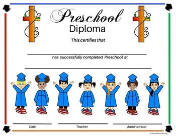 Religious Preschool Diploma - Kids on Books Theme - Editable