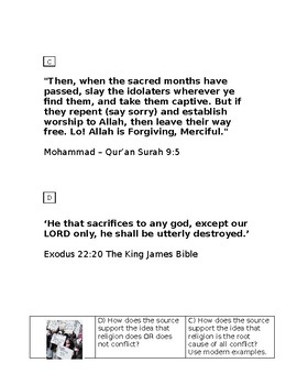 Religious conflict (sources and table worksheet) KS3/4